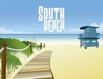 南海滩救生员摊的图象在迈阿密佛罗里达 皇族释放例证