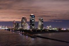 南海滩,迈阿密海滩 佛罗里达 迈阿密在晚上 库存图片