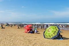 南海滩的德班许多人民 免版税库存照片