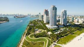 南海滩,迈阿密海滩 佛罗里达 鸟瞰图 库存图片