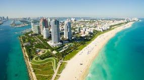 南海滩,迈阿密海滩 佛罗里达 鸟瞰图 免版税库存图片