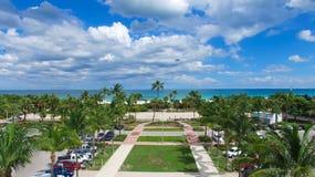 南海滩,迈阿密海滩 佛罗里达 鸟瞰图 库存照片