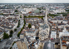 南特,法国鸟瞰图  库存图片