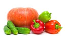 南瓜、在白色的胡椒和黄瓜 免版税库存照片