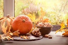 南瓜、桂香、糖和叶子由窗口在多雨da 免版税库存照片