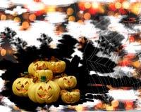 南瓜万圣夜节日的鬼魂面具 背景是蜘蛛w 库存照片