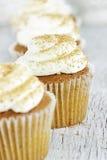 南瓜与乳脂干酪结冰的香料杯形蛋糕 免版税库存照片