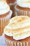 南瓜与乳脂干酪结冰的香料杯形蛋糕 库存图片