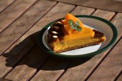 南瓜乳酪蛋糕片断  库存图片