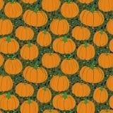 南瓜仿造与磨石子地背景绿色版本 秋天无缝的传染媒介样式用手拉的南瓜 免版税库存照片