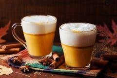 南瓜加了香料拿铁或咖啡在一块玻璃在一张木土气桌上 秋天或冬天热的饮料 免版税库存照片