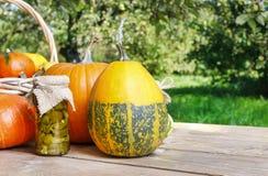 南瓜和泡菜在保存玻璃 免版税库存图片