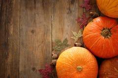 南瓜和秋叶在木背景 感恩和万圣夜概念 库存照片