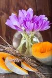 南瓜和花-紫罗兰色秋天番红花 库存照片