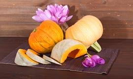 南瓜和花-紫罗兰色秋天番红花 免版税库存图片
