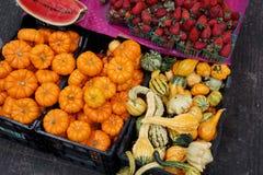 南瓜在一个市场上在墨西哥 库存照片