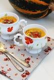 南瓜奶油色汤用桔子 库存照片