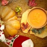 南瓜奶油,圣诞节菜单 库存图片