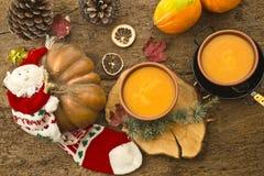 南瓜奶油,圣诞节菜单 库存照片