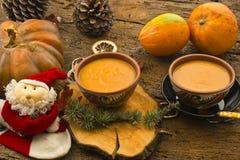 南瓜奶油,圣诞节菜单 免版税库存图片