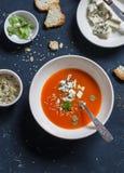 南瓜汤用在黑暗的石背景的青纹干酪 库存照片