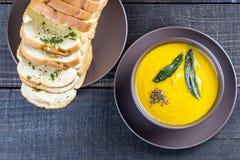 南瓜汤用贤哲在棕色陶瓷汤盘离开与蒜味面包 免版税库存图片