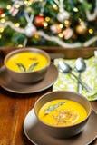 南瓜汤用贤哲在棕色陶瓷汤盘离开在圣诞树附近 图库摄影