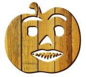 南瓜的被锯的木图在白色背景 免版税库存图片