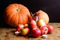 南瓜红色苹果和蜡烛木背景秋天收获水平的桂香 免版税图库摄影