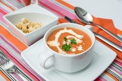 南瓜红萝卜奶油汤用油煎方型小面包片 图库摄影