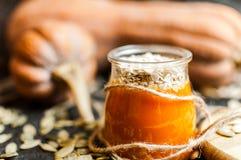 南瓜纯汁浓汤圆滑的人和种子 免版税库存照片