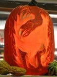 南瓜被雕刻的鸟 图库摄影