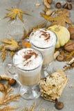 南瓜香料拿铁用香料、自创曲奇饼和秋天12月 免版税图库摄影