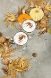 南瓜香料拿铁用香料、自创曲奇饼和秋天12月 免版税库存照片