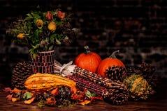 南瓜Pinecones玉米和金瓜秋天静物画 免版税库存照片