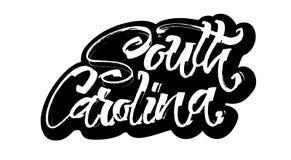 南的卡罗来纳州 贴纸 Serigraphy印刷品的现代书法手字法 免版税库存照片