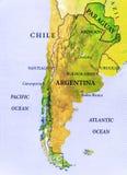 南美国家的地理地图地区有重要城市的 库存照片