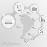 南美地图和元素Infographic 也corel凹道例证向量 免版税库存图片