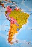 南美洲的地图集视图 库存照片