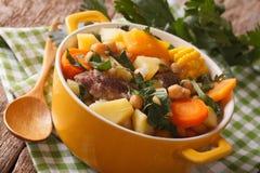 南美烹调:浓汤在罐的Pouchero特写镜头 H 免版税库存图片