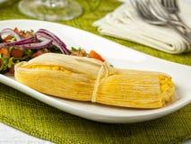 南美食物、玉米粽子或者humitas 免版税库存照片