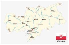 南蒂罗尔的意大利省的简单的地图德语的与旗子 图库摄影