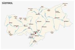 南蒂罗尔的意大利省的简单的地图德语的 免版税库存照片