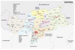 南蒂罗尔的意大利省的行政和政治地图德语的 库存图片