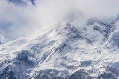 南迦帕尔巴特峰山峰在多云天,神仙的草甸,巴基斯坦 免版税图库摄影