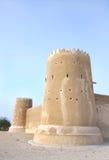 南部的塔& Zubarah堡垒,卡塔尔的南西部墙壁 免版税库存图片
