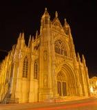 从南部的布鲁塞尔- Notre Dame du Sablon哥特式教会 免版税库存图片