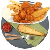 南部的油煎的鱼、鸡和虾 免版税图库摄影