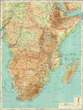 南部非洲古色古香的中央的映射 库存图片