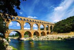 南部du法国gard的pont 库存照片